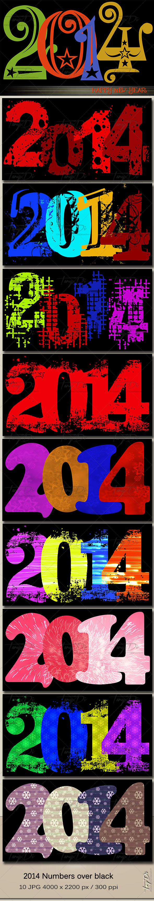 2014 numbers on black background